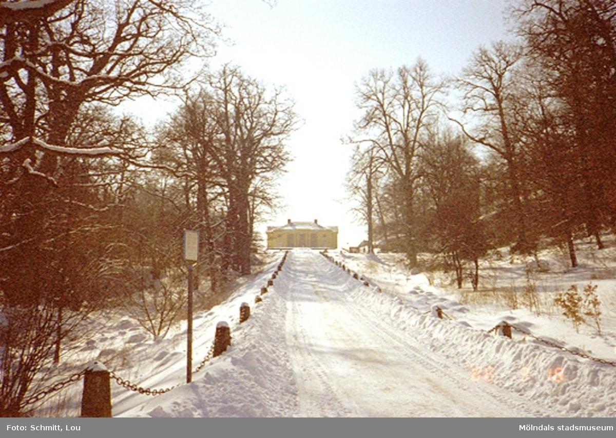 """Vy mot Gunnebo slott vintertid, sett från """"Runde sten""""."""