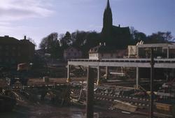 Centrumhuset under byggnation vid Frölundagatan i Mölndal, 1