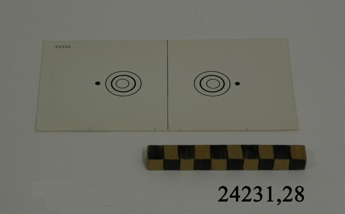 Rektangulärt vitt pappersark numrerat XXVIII i övre vänstra hörnet. På arket syns två stycken olika bilder i svartvitt, en för vardera öga. Till vänster: En cirkel innehållande två mindre cirklar, utan förskjutna avstånd. Till vänster om dessa en svart punkt. Till höger: Samma figur utan förskjutning. Till höger om dessa en svart punkt.