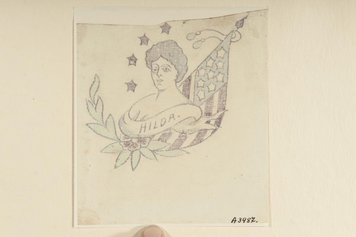 """Tatueringsförlaga. Ett kvinnoporträtt med en banderoll med påskriften """"HILDA"""" i förgrunden. I bakgrunden till vänster fyra stjärnor och en blomma, till höger en amerikansk flagga."""
