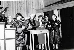 Hemsedal Musikklag i Kyrkjestugo i Hemsedal, ca. 1985. Frem