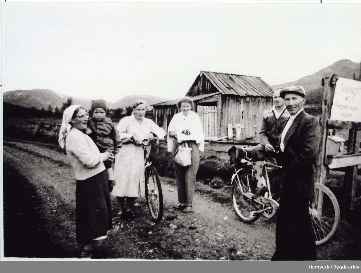 På veg til Bulien i Hemsedal i 1959. Frå venstre: Kari Bråten med Kjell Ove Anderdal, Margit Anderdal, Alfhild Sæther (bydame), Ola Anderdal og Knut Bråten.