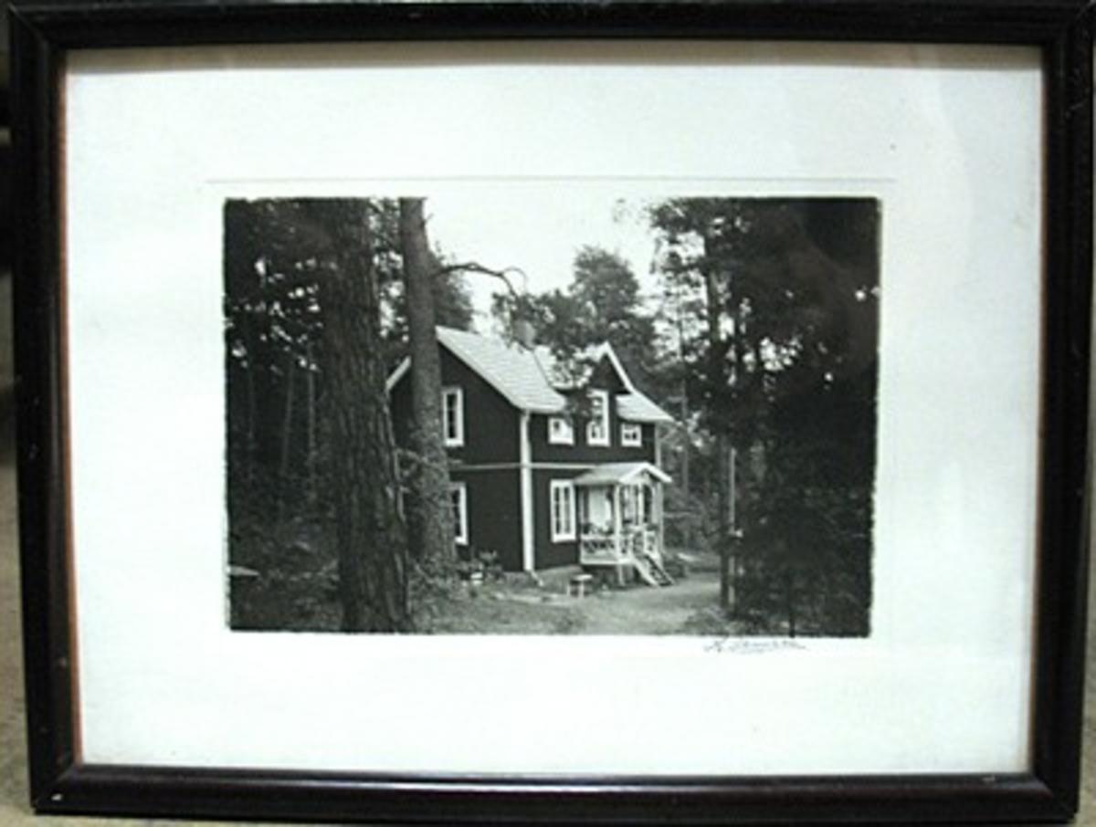 Fotograf Henry Jansson bytte efternamn till Junstrand, ca 1950. Motiv: Villa i skog.  Henry Junstrand startade en firma i Billingsfors: ''H.Janssons Foto'' som så småningom kom att byta namn till ''Junstrands Foto'' efter att familjen bytte namn. Han drev sin rörelse fram till mitten av 1960-talet. Fram till 1930-talet kombinerades verksamneten med taxirörelse, men därefter var fotoateljé huvudsysslan.