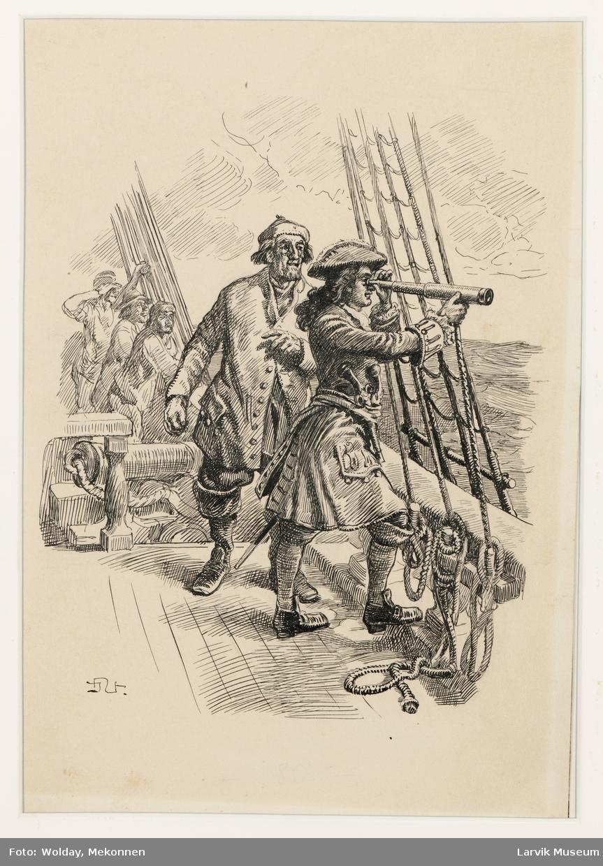 """""""Det er hukkerten """"Det svenske våpen"""" med kaperkaptein Knabe som sjef, som her iakttar"""". 1712."""