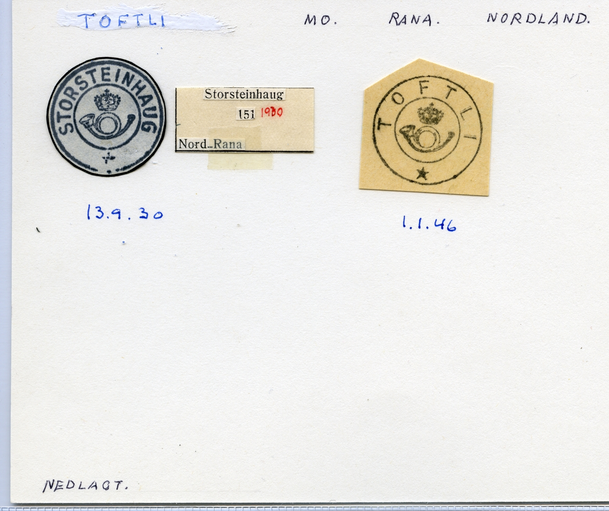 Stempelkatalog Toftli, (Storsteinhaug), Mo, Rana, Nordland