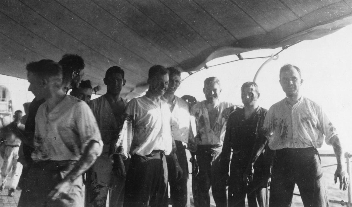 Fylgias resor 1924-25 Ombordkomst