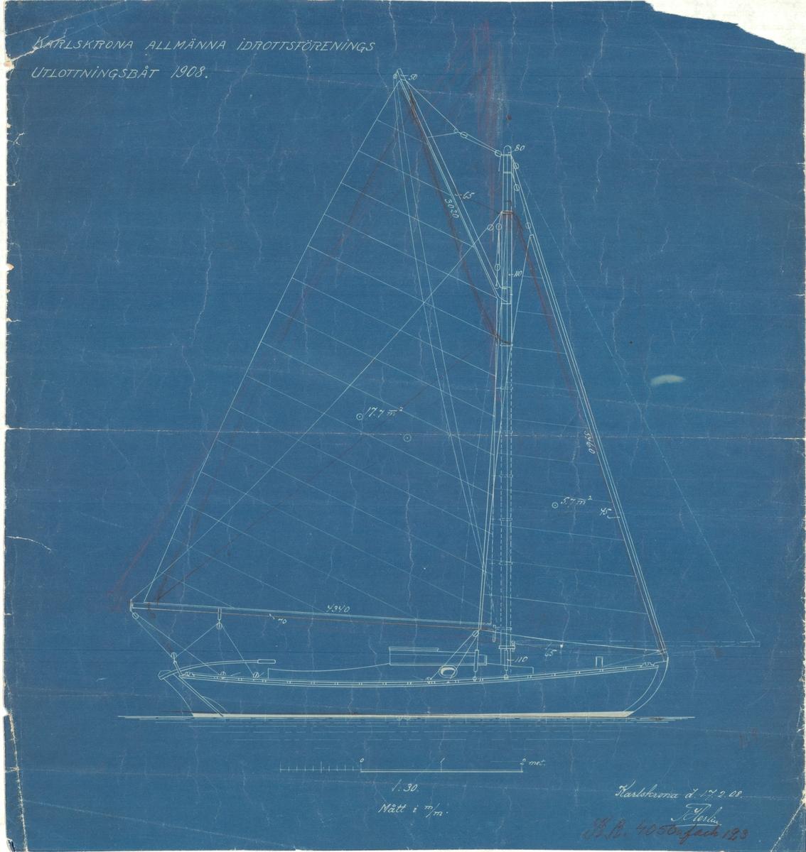 Plan, profil, spant och segelritning