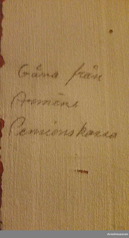 Grupp M V. Inkom 1930-talet. Från Arméns pensionskassa. Gåva.