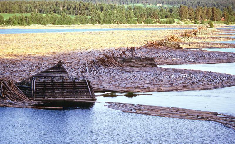 Foto av tømmerstokker i elva, som holdes igjen av steinkar med lenser mellom. (Foto/Photo)