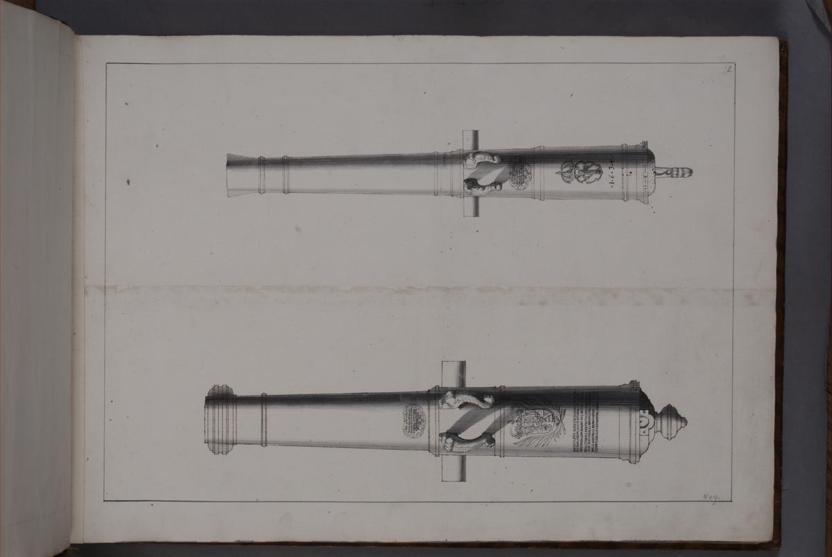 Avbildning föreställande eldrör tagna som troféer av den svenska armén i slaget vid Saladen den 19 mars 1703. Ingår i volym med avbildade kanontroféer tagna åren 1703-1706.