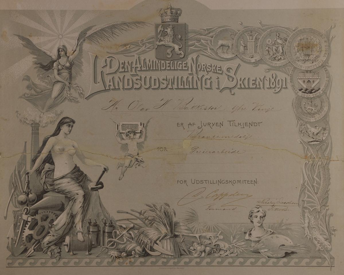 Rektangulær diplom, grå/grøn botn med tekst og motiv påtrykt.