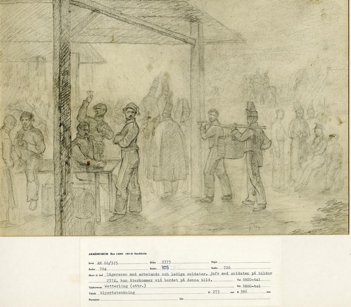 Grupp M I. Teckning föreställande markententeri, lägerscen med arbetande & lediga soldater, attribuerad till konstnären Alexander Clemens Wetterling (1796-1858).