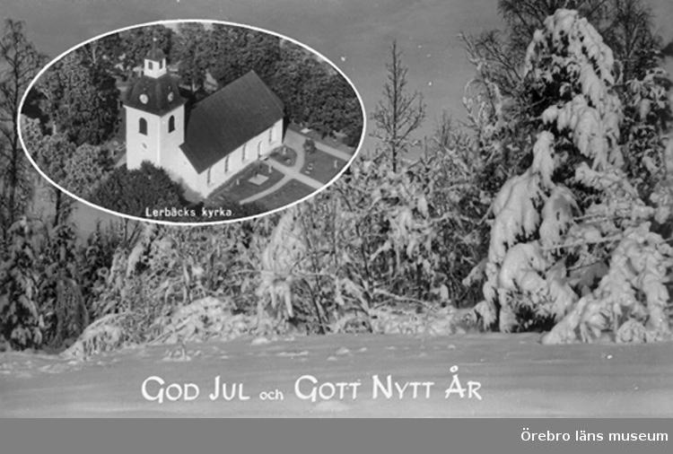 Lerbäcks kyrka, exteriör.Bilden tagen för jul- och nyårskort (text: God Jul och Gott Nytt År).