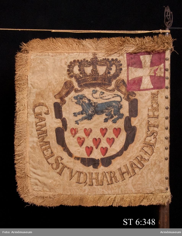 """På stången finns en fastklistrad papperslapp med texten: """"No 4 Danskt Estandar taget under (...)nung Carl d XI eget höga befäl (...) Lund och Rönnberga. d 4 Dec 1676"""""""