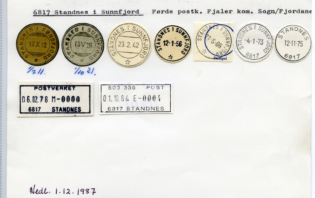 Stempelkatalog  6817 Standnes, Fjaler kommune, Sogn og Fjordane (Standnes i Sunnfjord)