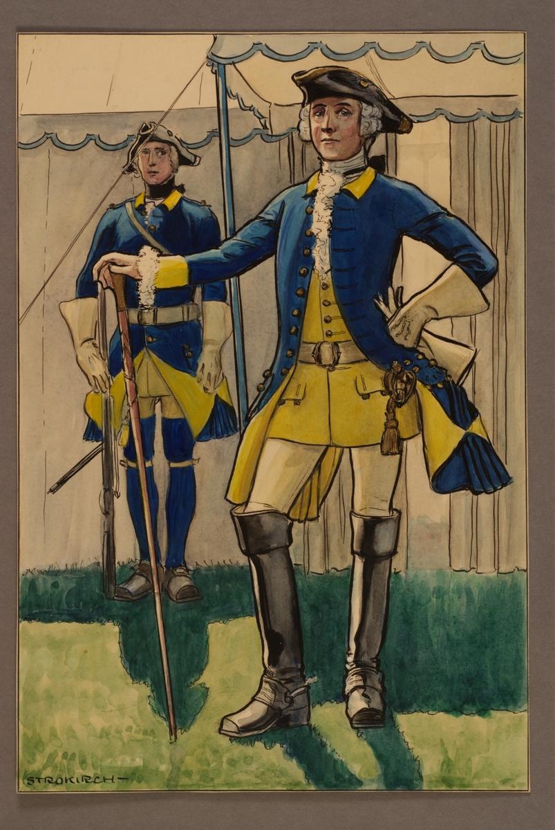 Plansch med uniform för ryttare och officer vid Västgöta kavalleriregemente 1748, ritad av Einar von Strokirch.