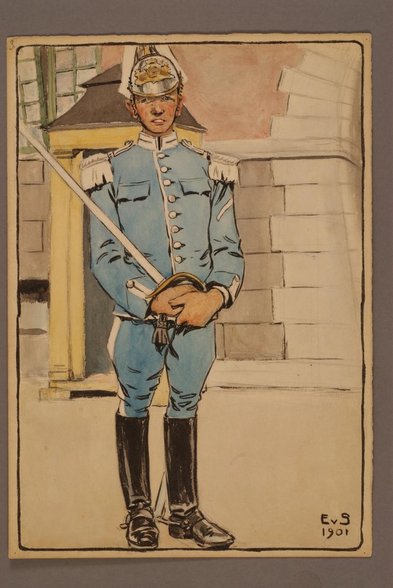 Plansch med uniform för Livgardet till häst, ritad av Einar von Strokirch.