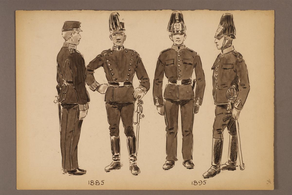 Plansch med uniform för Trängen för åren 1885 och 1895, ritad av Einar von Strokirch.