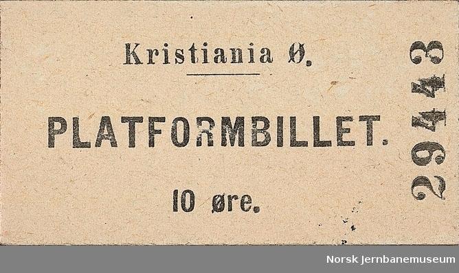 Platformbillet Kristiania Ø 10 øre