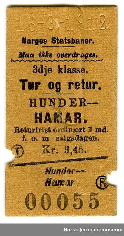 Tur/returbillett Hunder-Hamar, 3. klasse, brukt