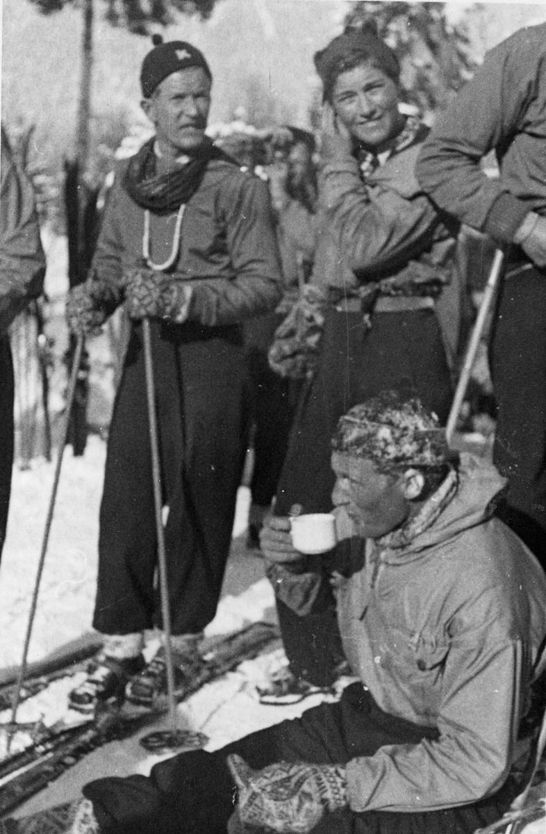 Norwegian athlete Birger Ruud skiing at Garmisch