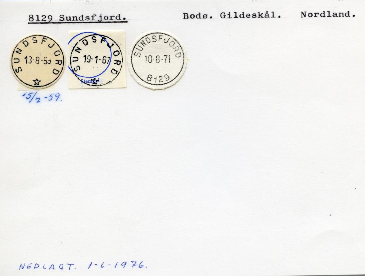 Stempelkatalog  8129 Sundsfjord, Gildeskål, Nordland