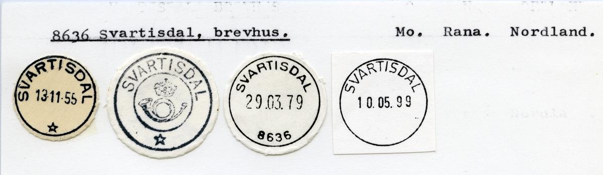 Stempelkatalog  8636 Svartisdal, Rana kommune, Nordland