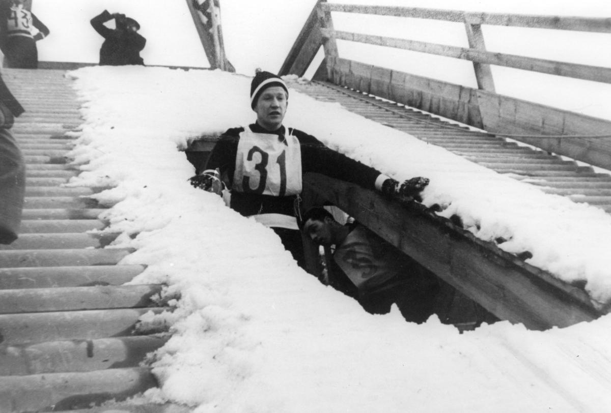 Athlete Birger Ruud during Nordic World Ski Championship 1935 at Vysoke Tatry, Czechoslovakia.