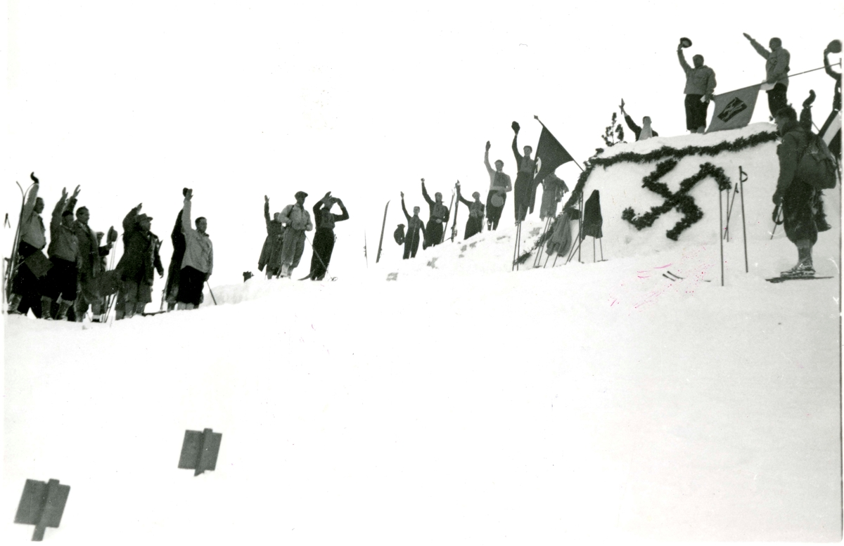 Rejoicing at the ski jump in Garmisch in 1936