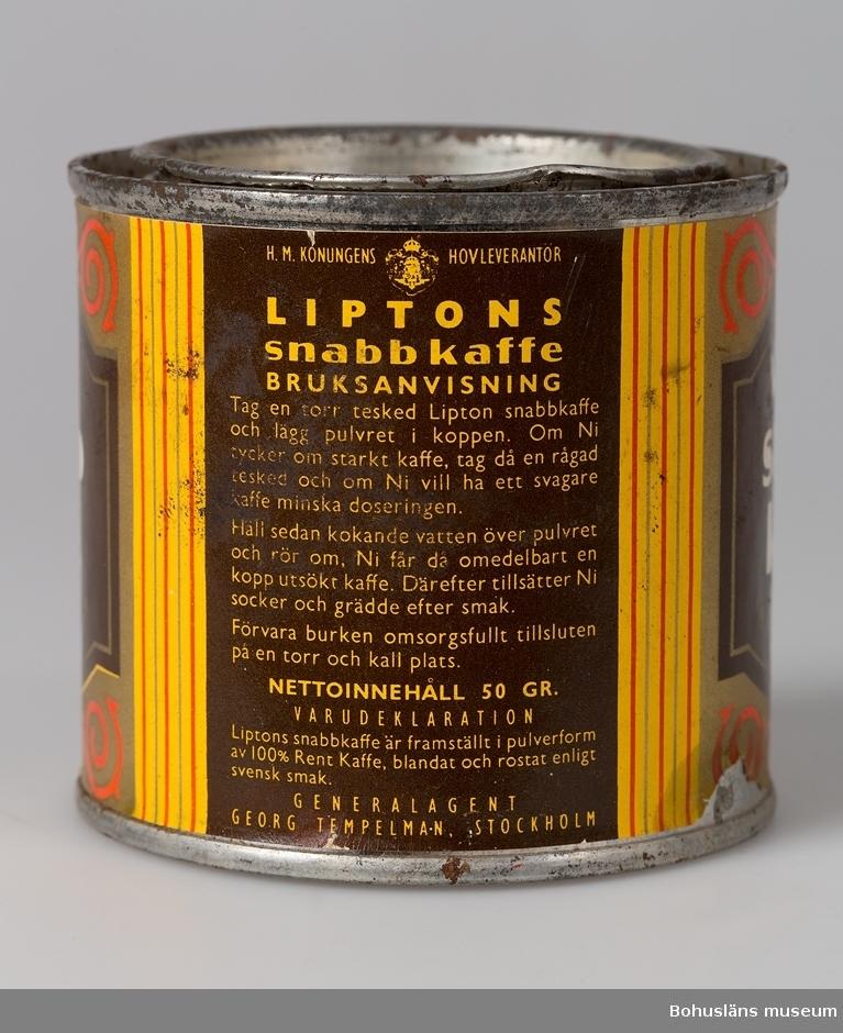 """Vit text på brun etikett. Märkt: """"Liptons snabbkaffe"""".  UMFF 33:3 ::"""