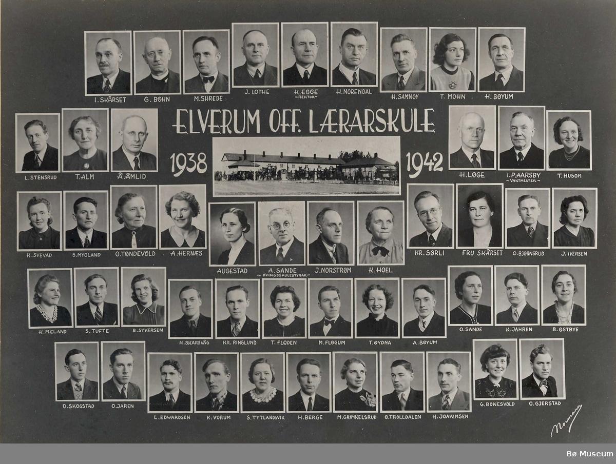 Elverum off. lærarskule 1938 - 1942