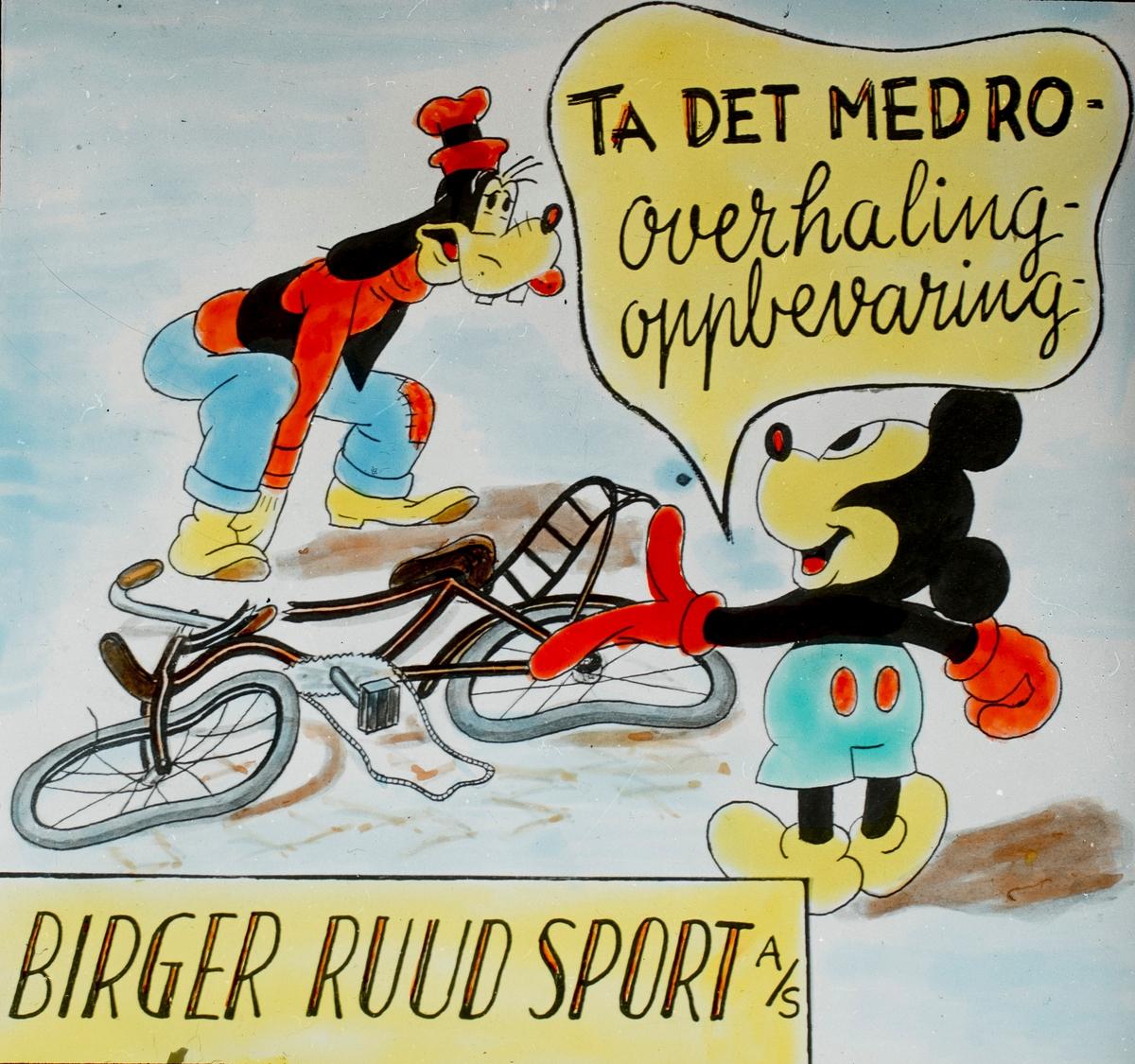 Slides promoting Birger Ruud's sports shop