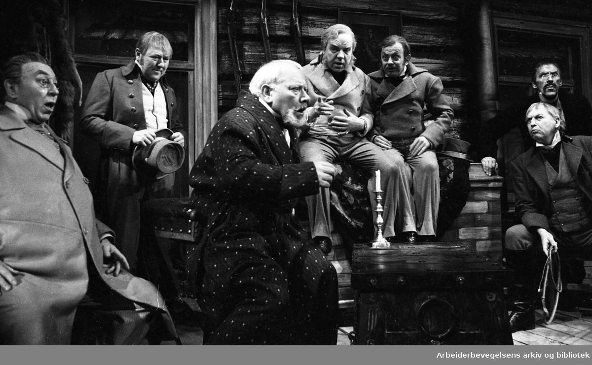Nationaltheatret. Hovedscenen..REVISOREN, av Nikolaj Gogol. Premiere 28.03.1968..Fra venstre: Gunnar Olram, Carsten Byhring, Claes Gill, Henki Kolstad, Eilif Armand, Gisle Straume og Arne Bang-Hansen.