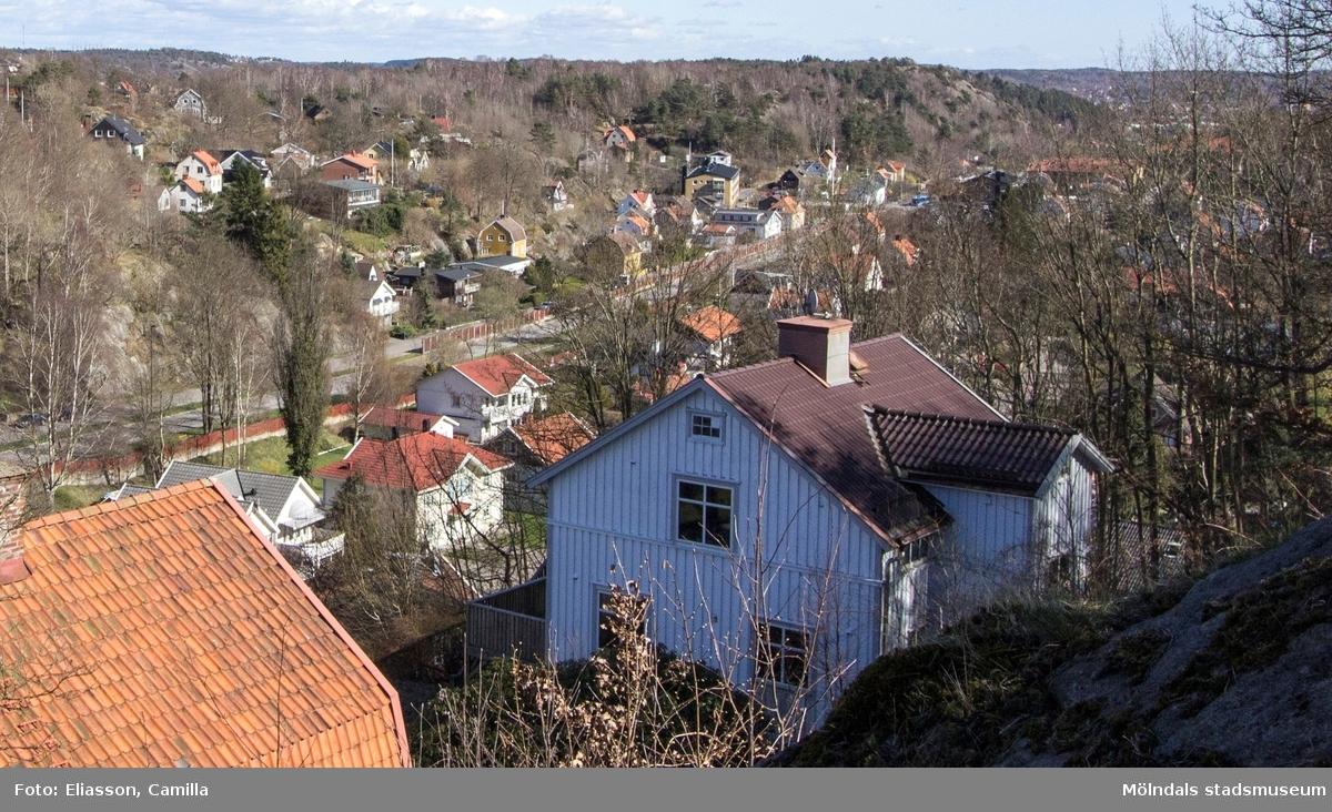 Toltorpsgatan löper genom hela Toltorpsdalen. Populärt boendeområde av villor, bostads- och hyresrätter med omgivande vandringsområden. I bakgrunden syns Safjället och Änggårdsbergen ligger bakom fotografen.