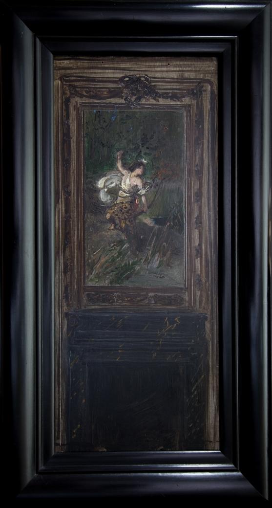 Interiörbild med en svartmålad öppen eldstad. Ovanför den en målning föreställande Diana, helfigur, med vit klädnad och ett djurskinn samt hållande en pilbåge i ena handen. Skissartat utförande.