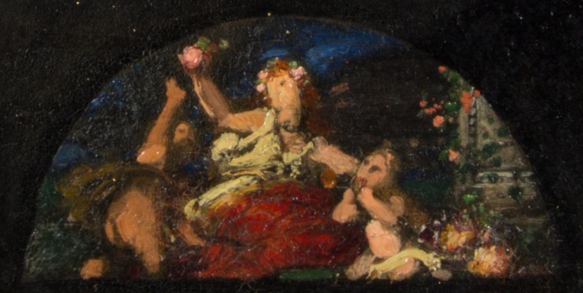 Ung sittande kvinna, Abundantia, omgiven av barn. Skissartat utförande.
