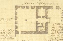 Plan av det ursprungliga hörnhuset Norra Långgatan-Västra Sj