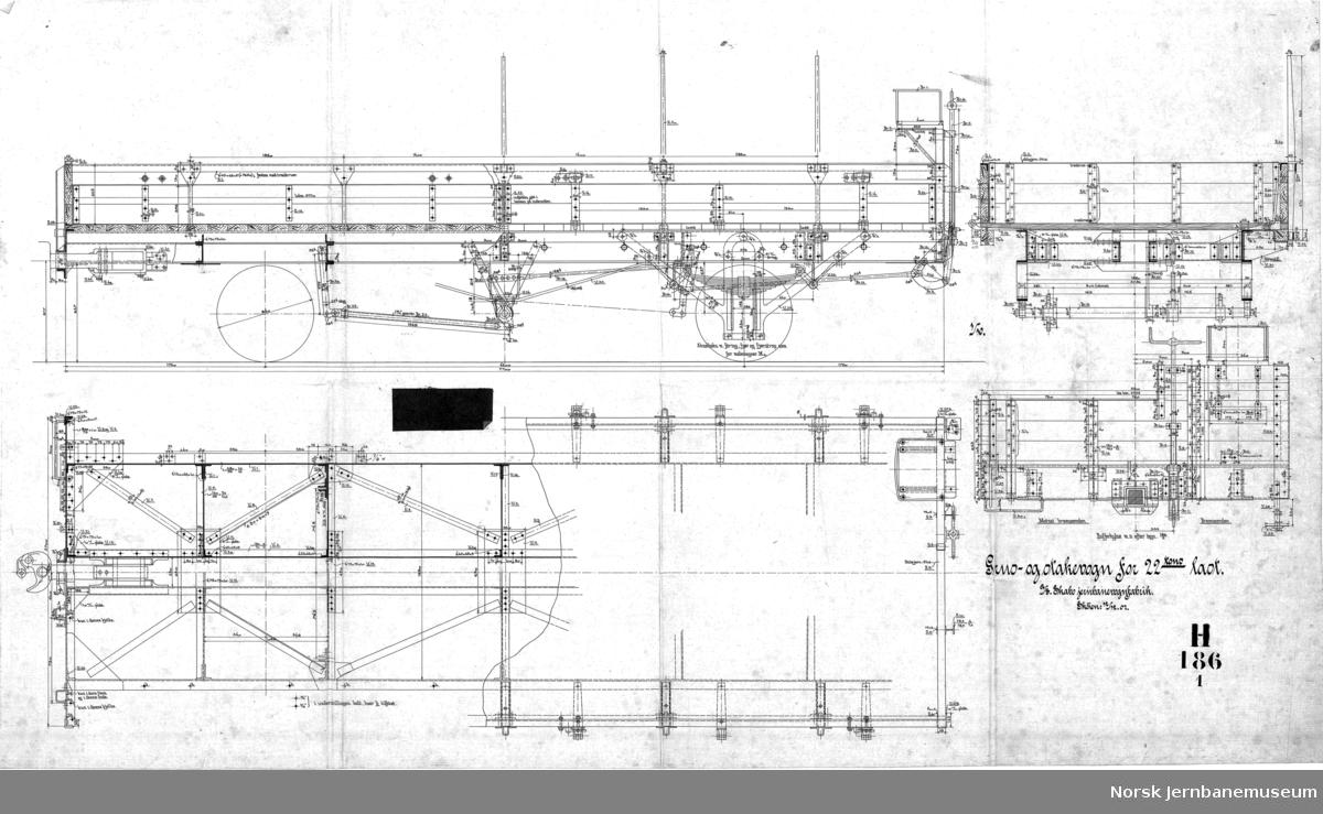Grus- og stakevogn for 22 tons last