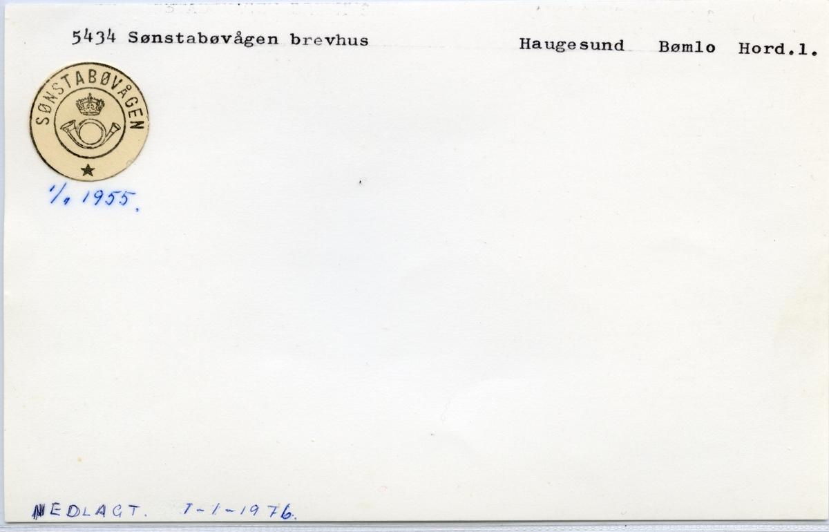 Stempelkatalog  5434 Sønstabøvågen, Bømlo kommune, Hordaland
