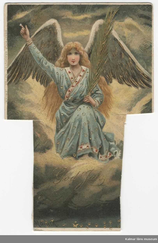 Ängel med fredspalm och gyllene vingar i guldmolnbank sträcker upp häger arm. Gulddetaljer samt påskrift God Jul med gyllene bokstäver.