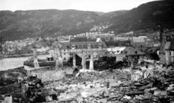 Foto fra et tettsted i ruiner. - Dette er fra bydelen Nordne
