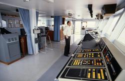 Styrmann på broen på T/T 'Wind Eagle' (b. 1977, Kockums Varv