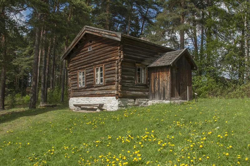 Gråbrunt tømmerhus, halvannen etasje, med tilbygd vindfang på langveggen. Huset er ei husmannsstue og ligger litt oppi en bakke med gress og løvetann. (Foto/Photo)