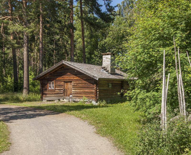Brunt tømmerhus med flistak og høy pipe ligger idyllisk langs en grusveg med en skigard til høyre og høyre furuer bak. (Foto/Photo)