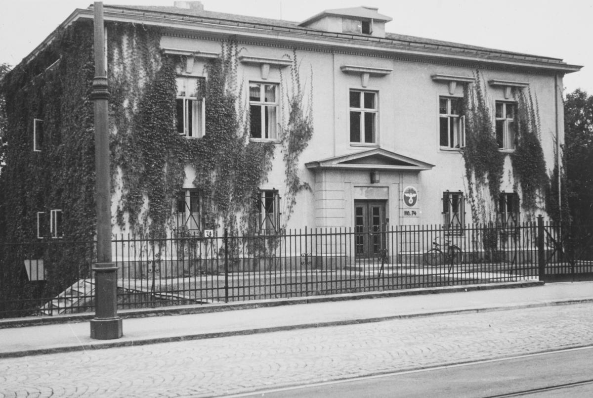 Den tyske legasjon i Drammensveien 74 i Oslo i 1939. Bygningen ble senere ambassade for Sovjetunionen.