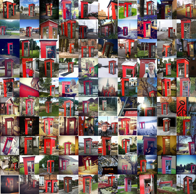 Røde telefonkiosker collage (Foto/Photo)