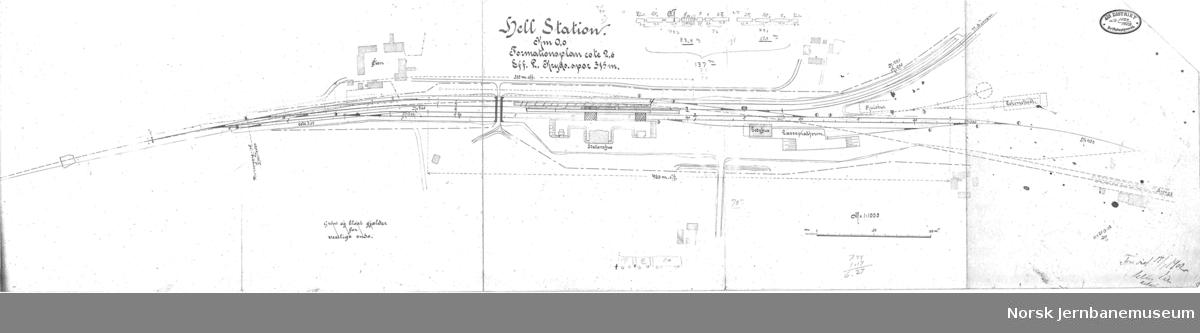 Hell Station - km 0,0 Sporplan ifb med byggingen av Hell-Sunnanbanen - plassering av gammel stasjonsbygning fremgår