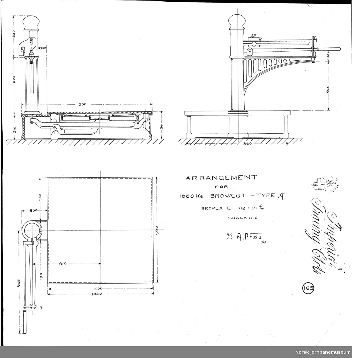 "Arrangement for 1000 kg brovægt - type ""A"" A. P. Foss tegning no. 165"
