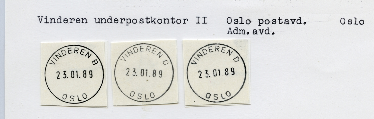 Stempelkatalog  Vinderen, Oslo kommune, Oslo