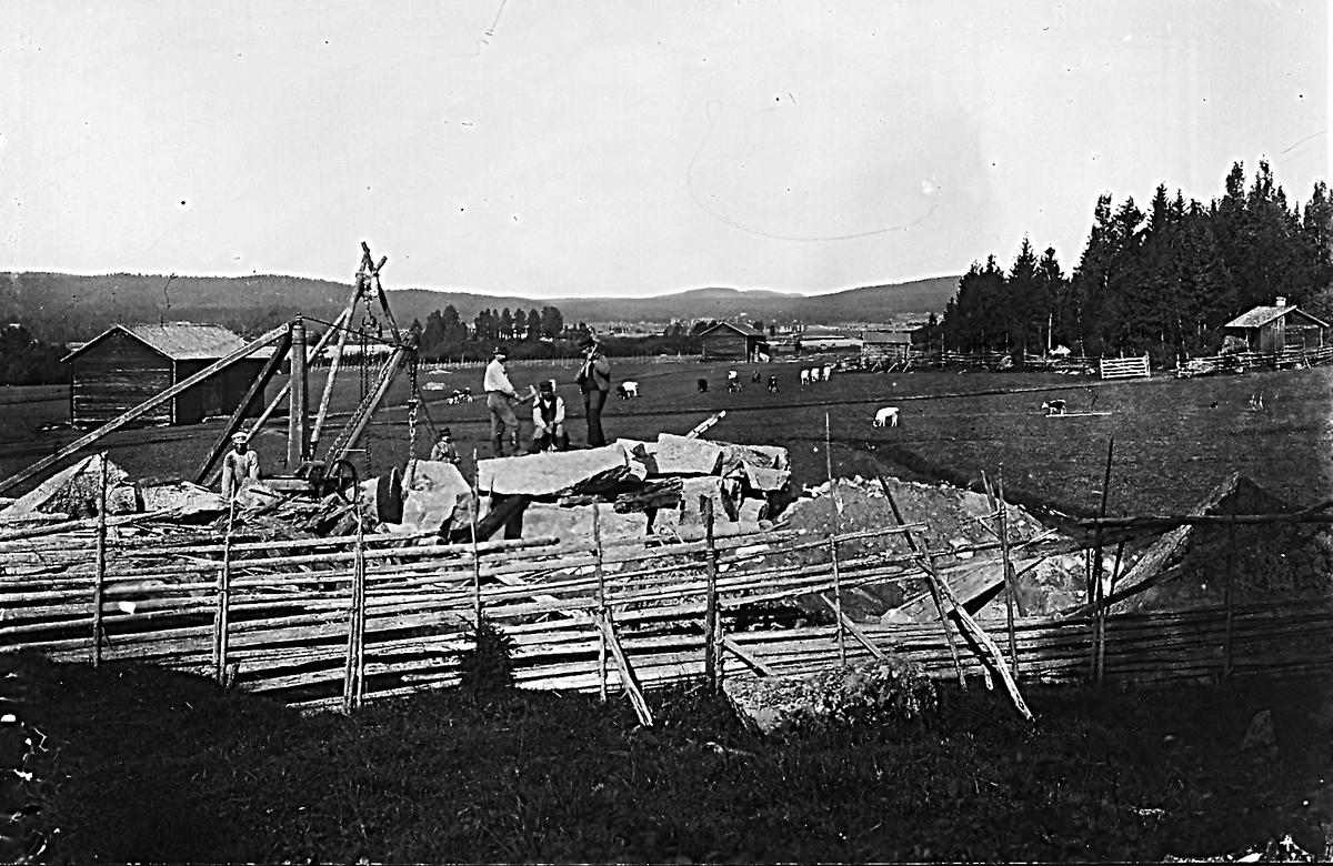 """Västergårds"" i Östansjö, ladugårdsbygge. Herte i bakgrunden."